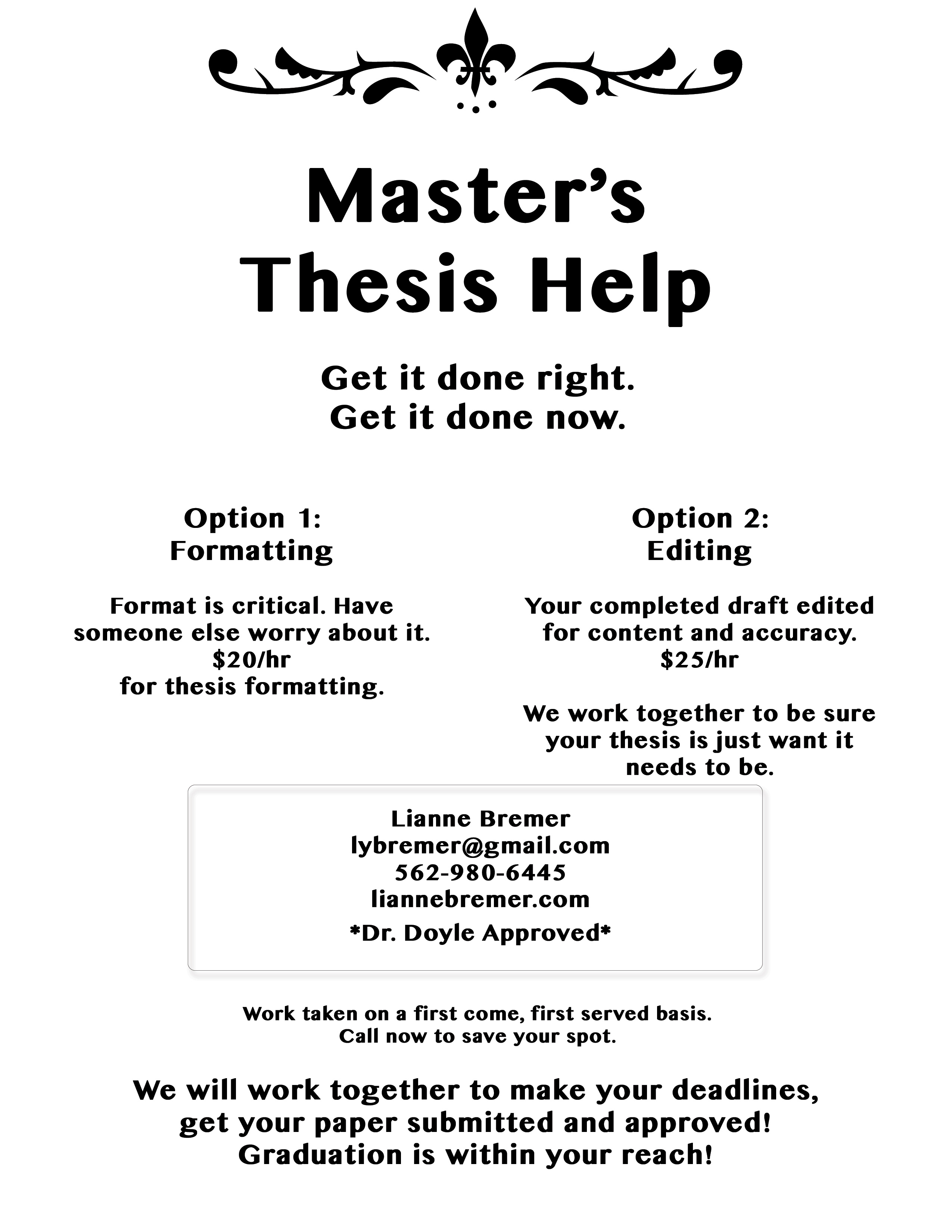 Thesis Editing Services Thesis Flyer Thesis Editing Services